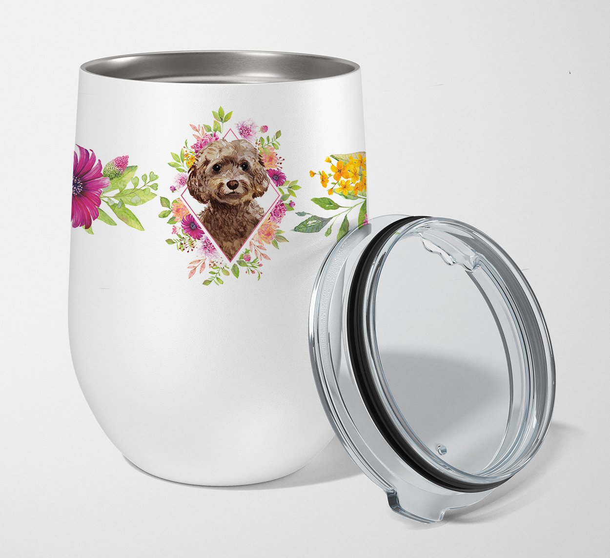Buy this Chocolate Cockapoo Pink Flowers Stainless Steel 12 oz Stemless Wine Glass CK4253TBL12