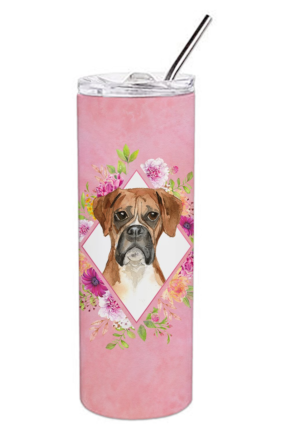 Boxer Pink Flowers Double Walled Stainless Steel 20 oz Skinny Tumbler CK4255TBL20 by Caroline's Treasures
