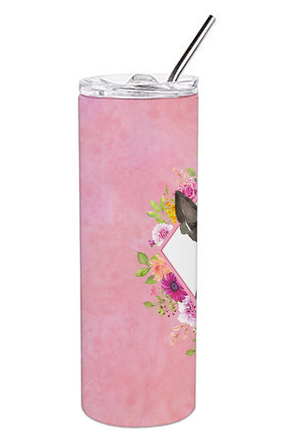 Boston Terrier Pink Flowers Double Walled Stainless Steel 20 oz Skinny Tumbler CK4257TBL20 by Caroline's Treasures