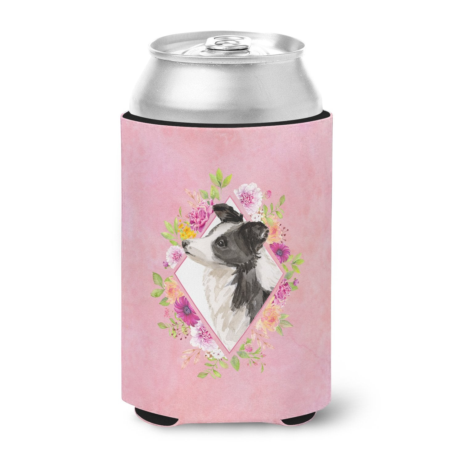 Border Collie Pink Flowers Can or Bottle Hugger CK4258CC by Caroline's Treasures