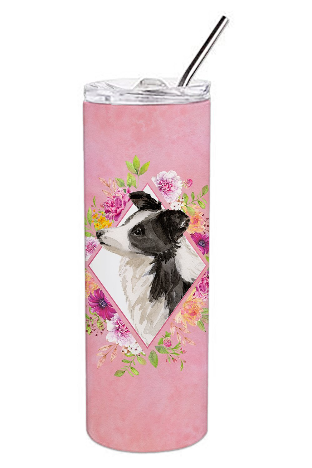 Buy this Border Collie Pink Flowers Double Walled Stainless Steel 20 oz Skinny Tumbler CK4258TBL20