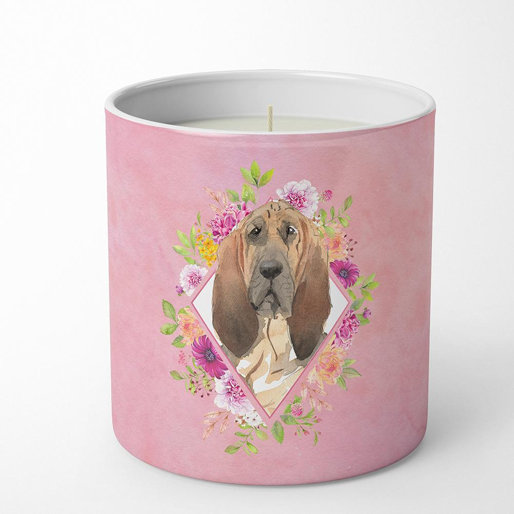 Bloodhound Pink Flowers 10 oz Decorative Soy Candle CK4259CDL by Caroline's Treasures