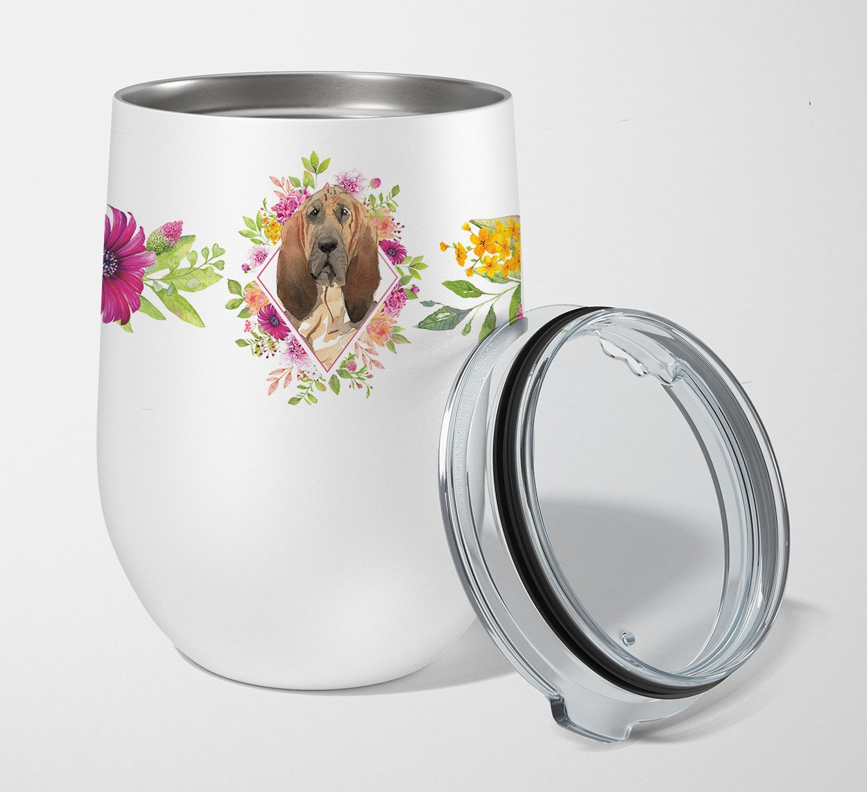 Buy this Bloodhound Pink Flowers Stainless Steel 12 oz Stemless Wine Glass CK4259TBL12