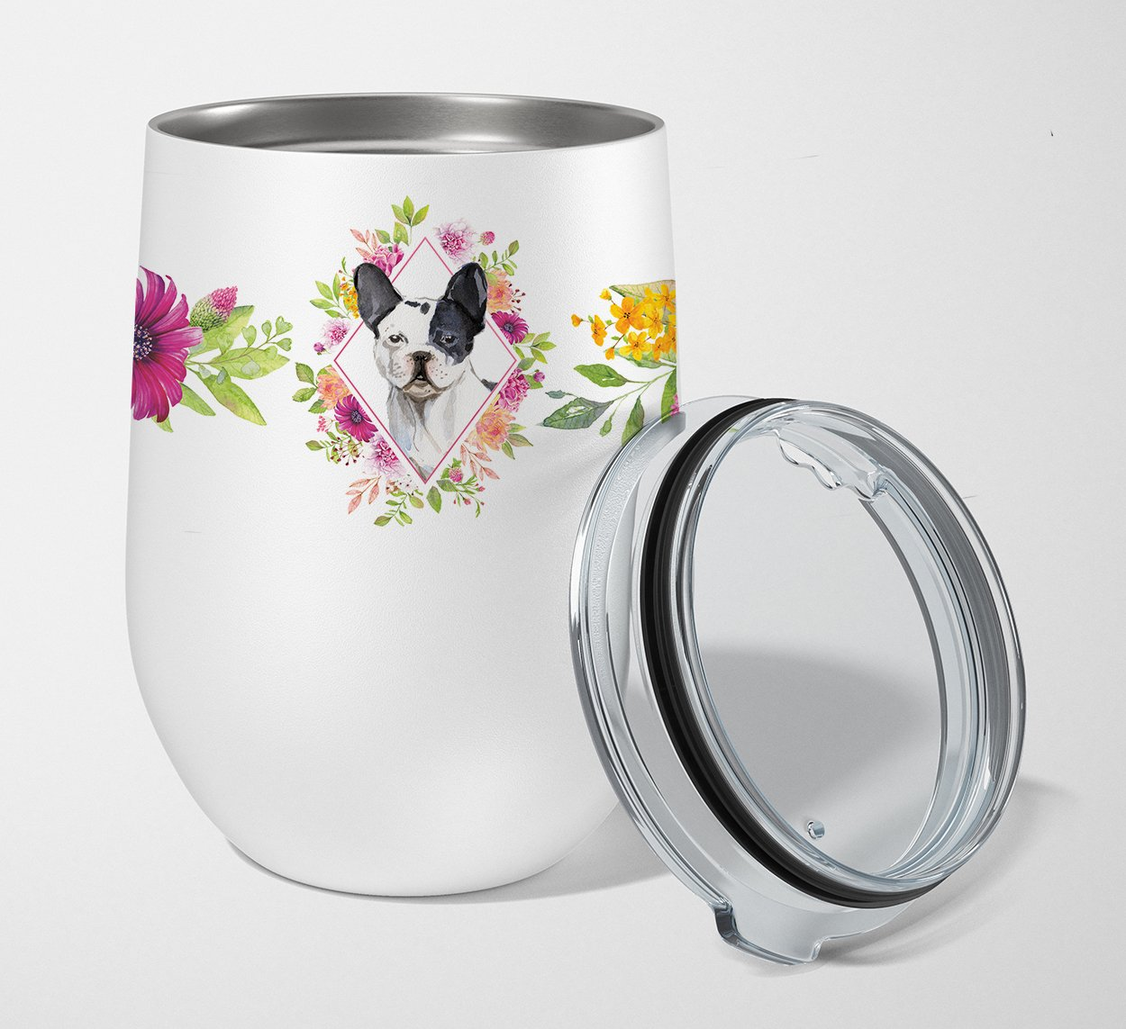 Buy this Black and White Frenchie Pink Flowers Stainless Steel 12 oz Stemless Wine Glass CK4260TBL12