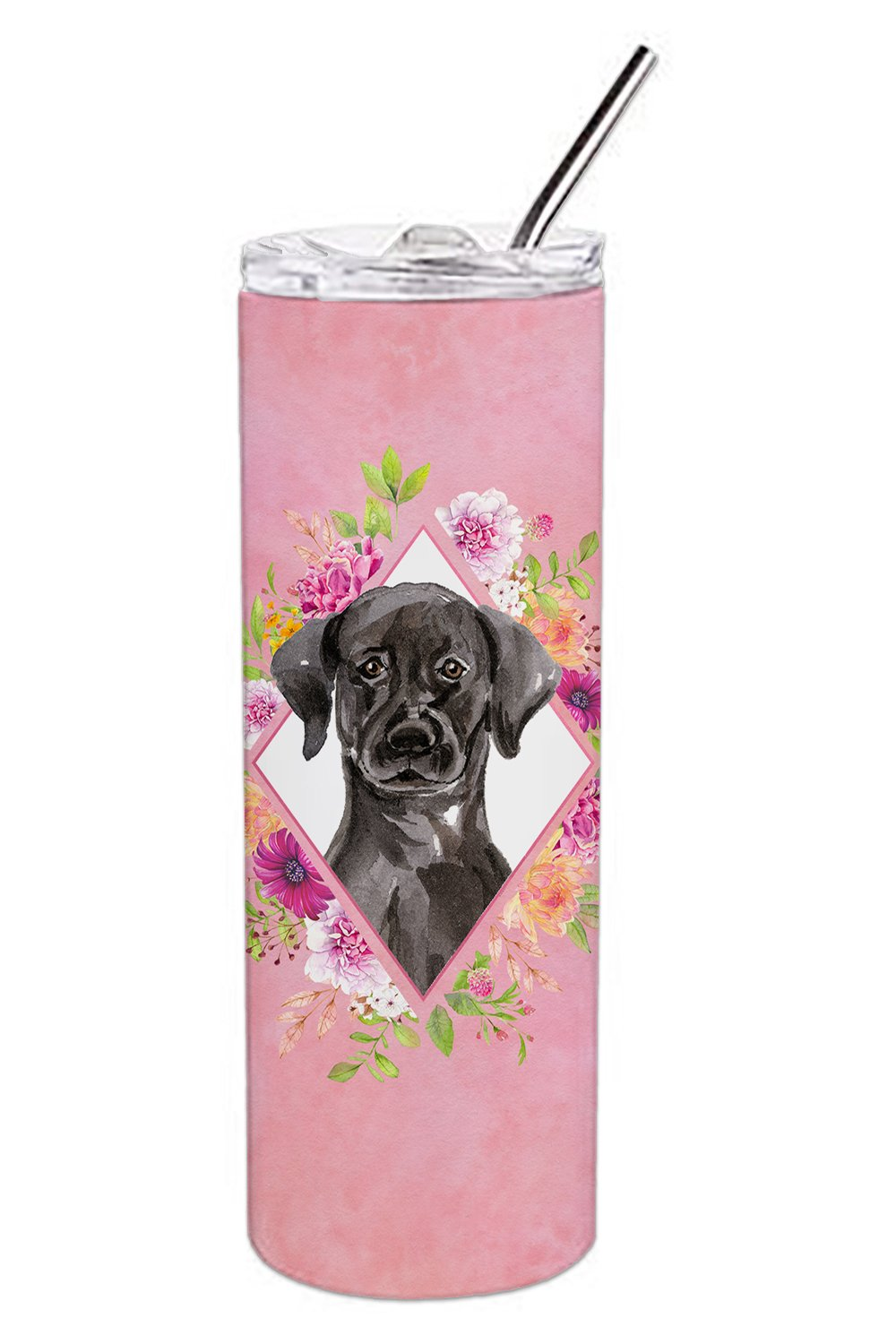 Buy this Black Labrador Pink Flowers Double Walled Stainless Steel 20 oz Skinny Tumbler CK4261TBL20