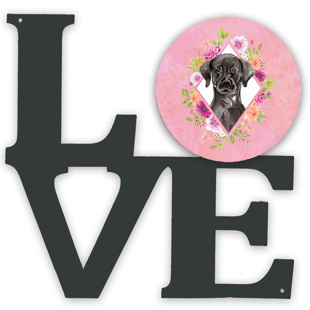 Buy this Black Labrador Pink Flowers Metal Wall Artwork LOVE CK4261WALV