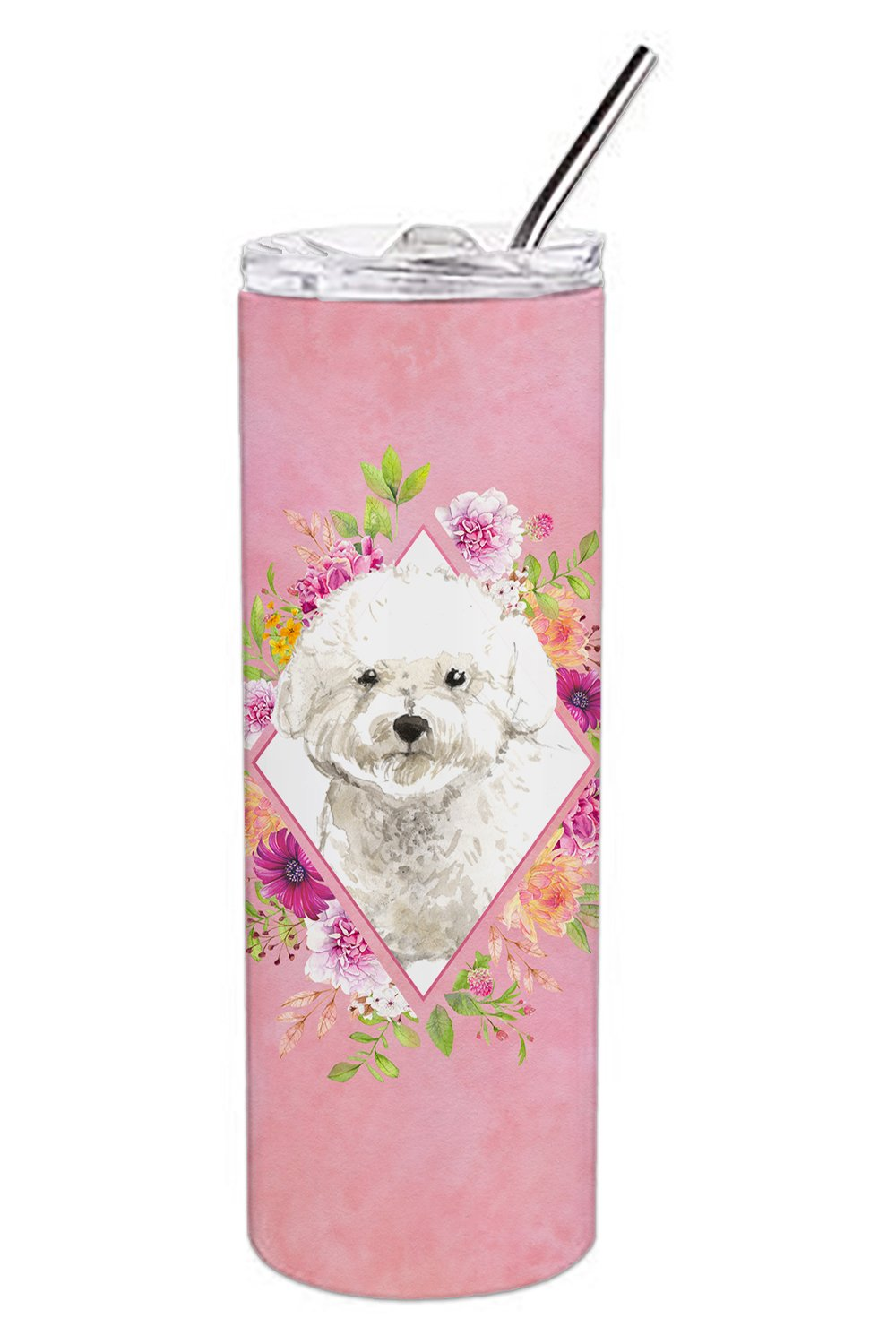 Bichon Frise Pink Flowers Double Walled Stainless Steel 20 oz Skinny Tumbler CK4263TBL20 by Caroline's Treasures