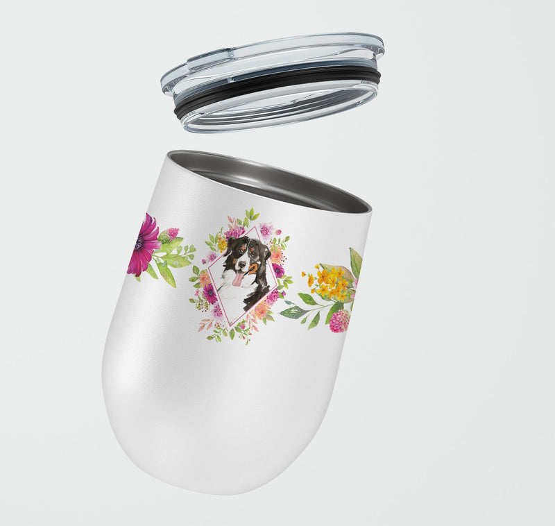 Buy this Bernese Mountain Dog Pink Flowers Stainless Steel 12 oz Stemless Wine Glass CK4264TBL12