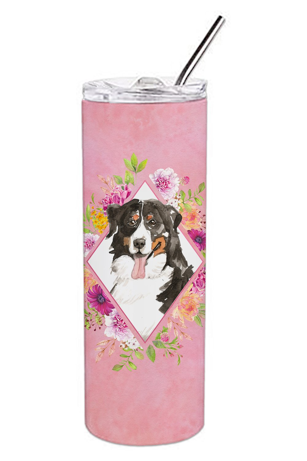 Bernese Mountain Dog Pink Flowers Double Walled Stainless Steel 20 oz Skinny Tumbler CK4264TBL20 by Caroline's Treasures