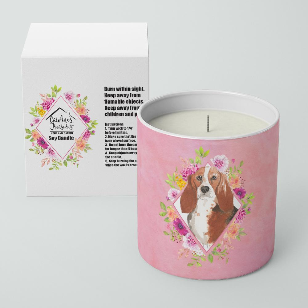 Basset Hound Pink Flowers 10 oz Decorative Soy Candle CK4266CDL by Caroline's Treasures