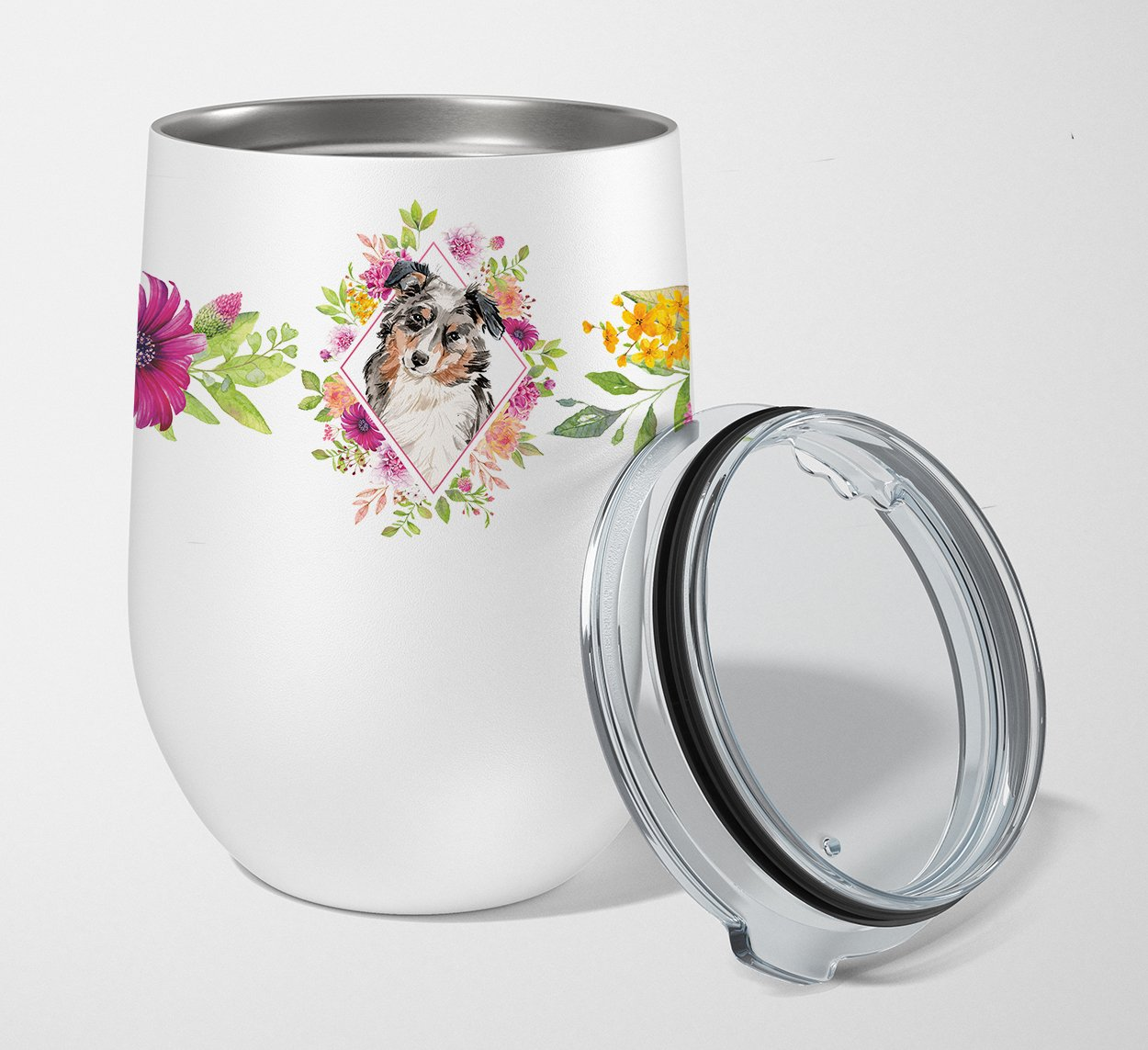 Buy this Australian Shepherd Pink Flowers Stainless Steel 12 oz Stemless Wine Glass CK4267TBL12