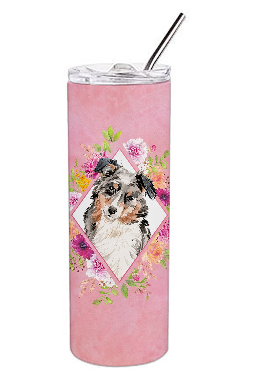 Buy this Australian Shepherd Pink Flowers Double Walled Stainless Steel 20 oz Skinny Tumbler CK4267TBL20