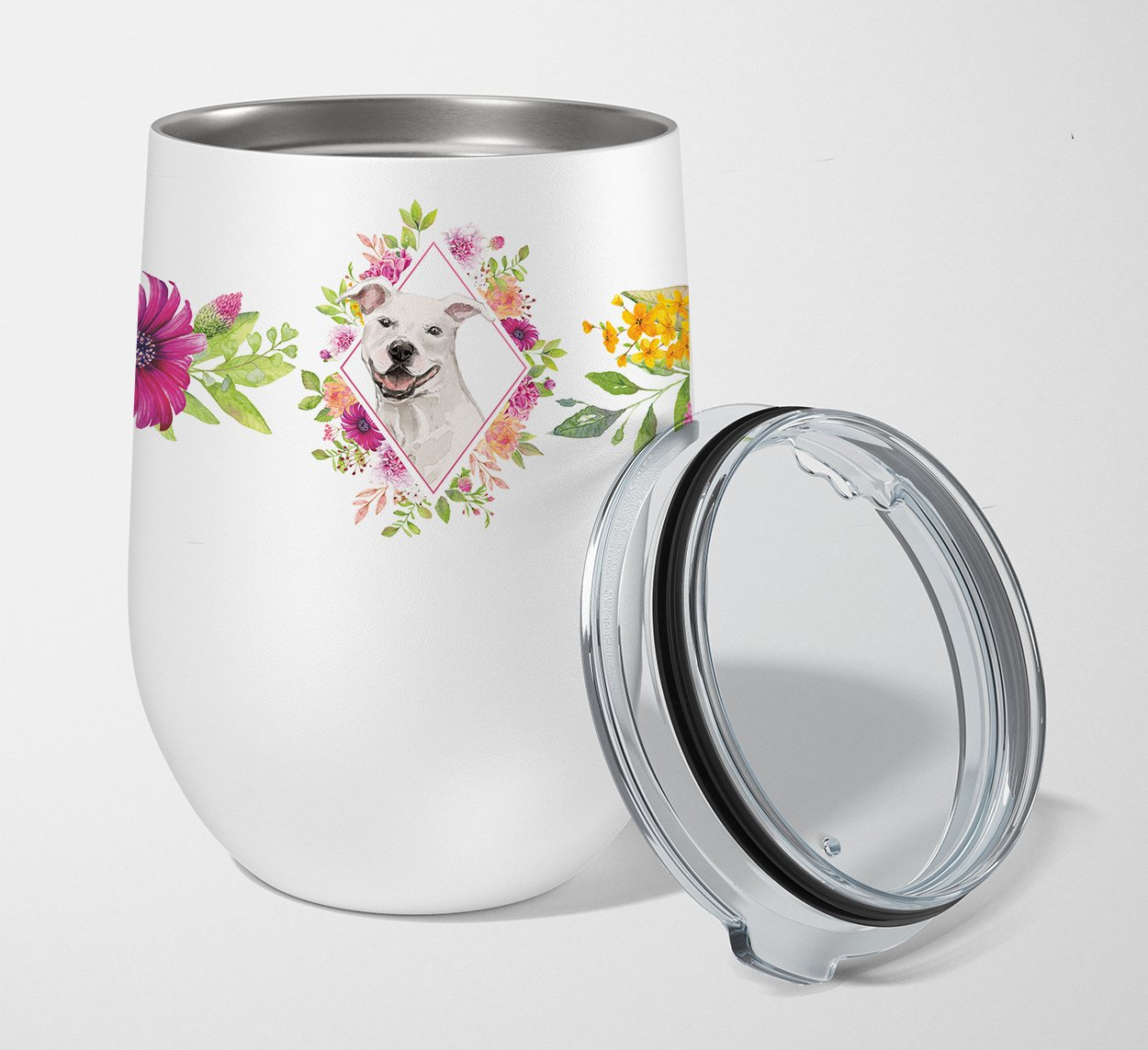 Buy this White Pit Bull Terrier Pink Flowers Stainless Steel 12 oz Stemless Wine Glass CK4268TBL12