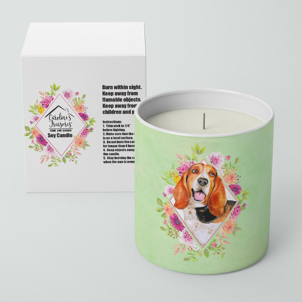 Basset Hound Green Flowers 10 oz Decorative Soy Candle CK4276CDL by Caroline's Treasures