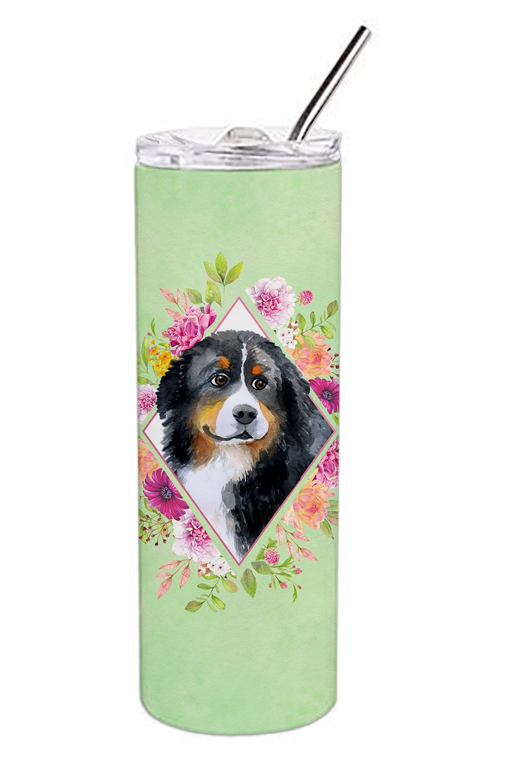 Bernese Mountain Dog Green Flowers Double Walled Stainless Steel 20 oz Skinny Tumbler CK4278TBL20 by Caroline's Treasures