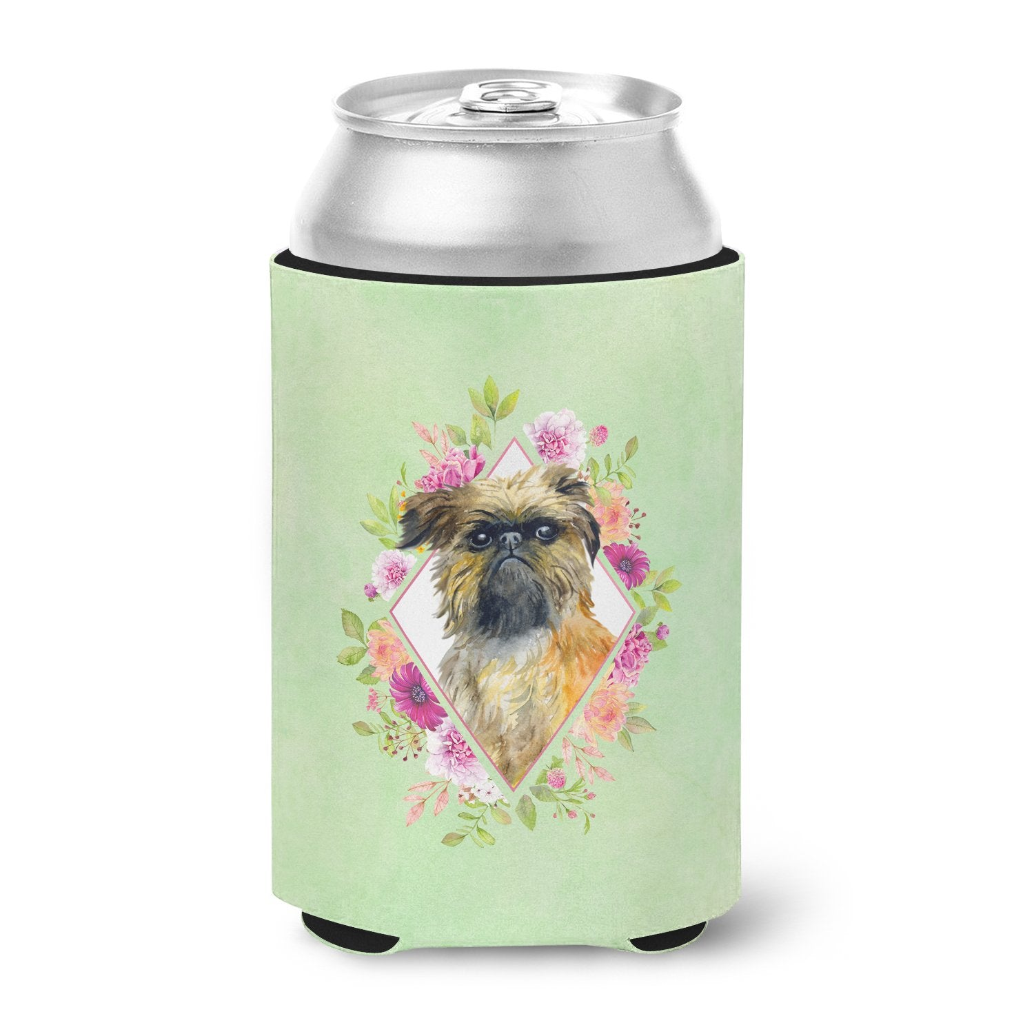 Brussels Griffon Green Flowers Can or Bottle Hugger CK4283CC by Caroline's Treasures