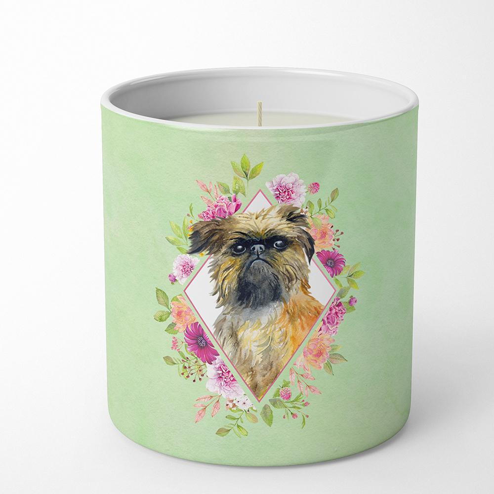 Brussels Griffon Green Flowers 10 oz Decorative Soy Candle CK4283CDL by Caroline's Treasures