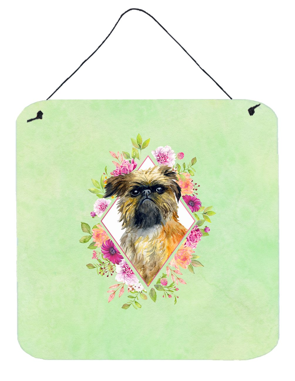 Brussels Griffon Green Flowers Wall or Door Hanging Prints CK4283DS66 by Caroline's Treasures