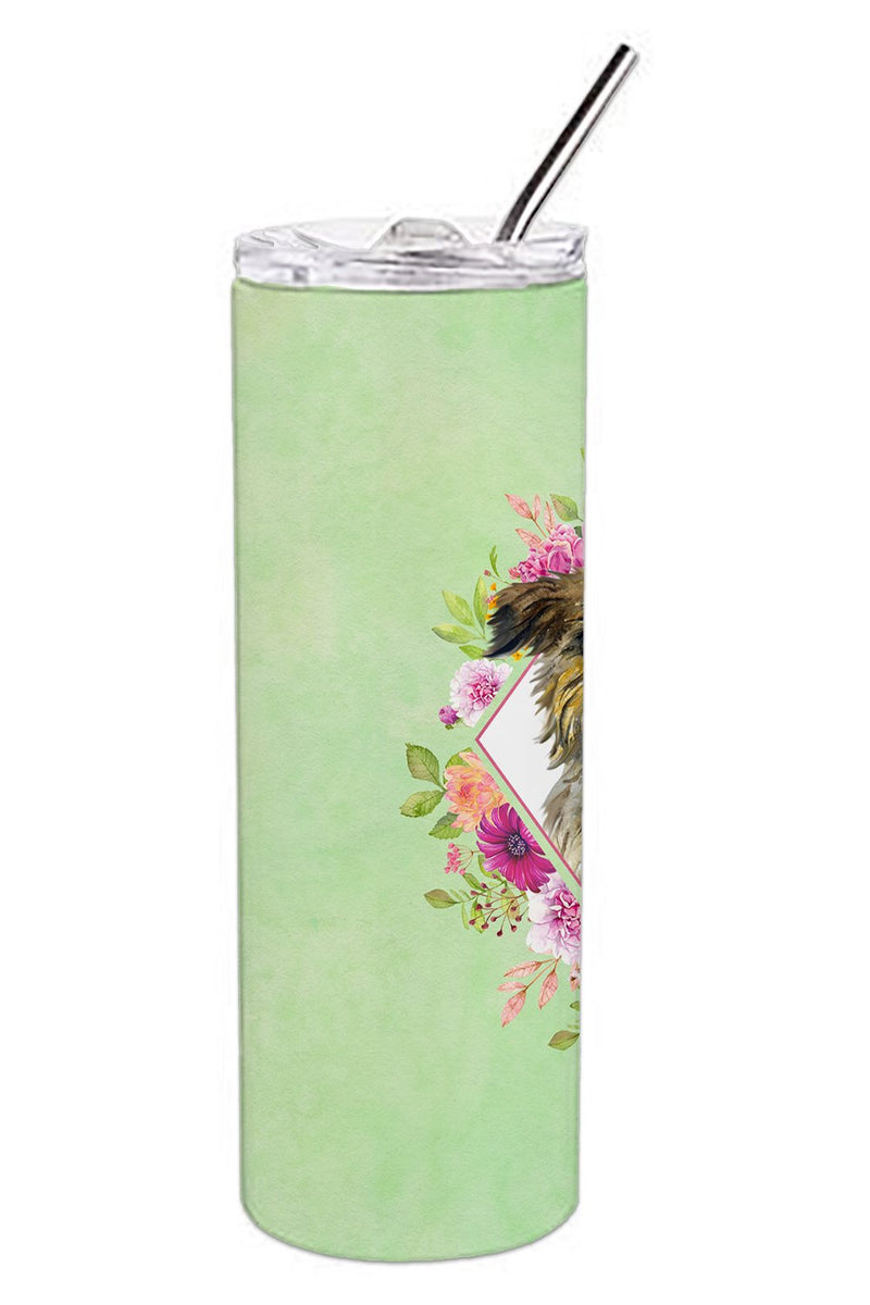 Buy this Brussels Griffon Green Flowers Double Walled Stainless Steel 20 oz Skinny Tumbler CK4283TBL20