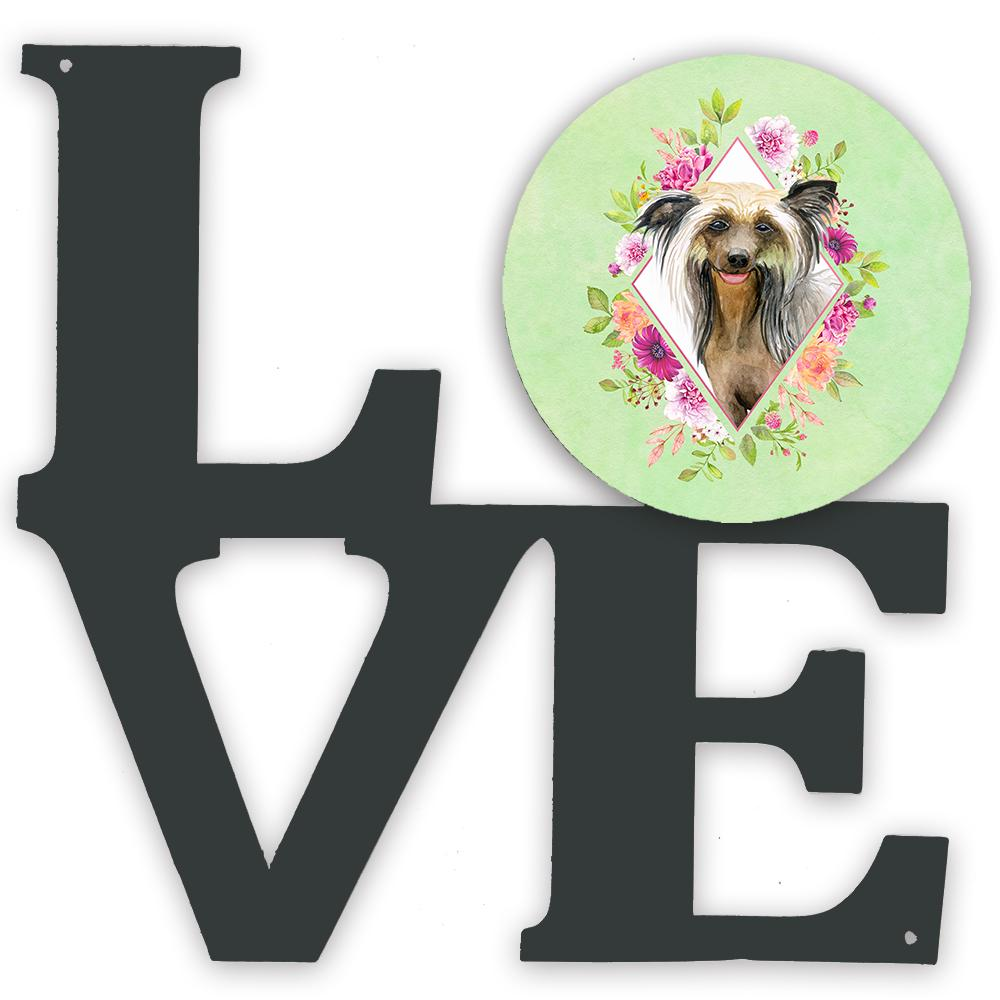Chinese Crested Green Flowers Metal Wall Artwork LOVE CK4290WALV by Caroline's Treasures