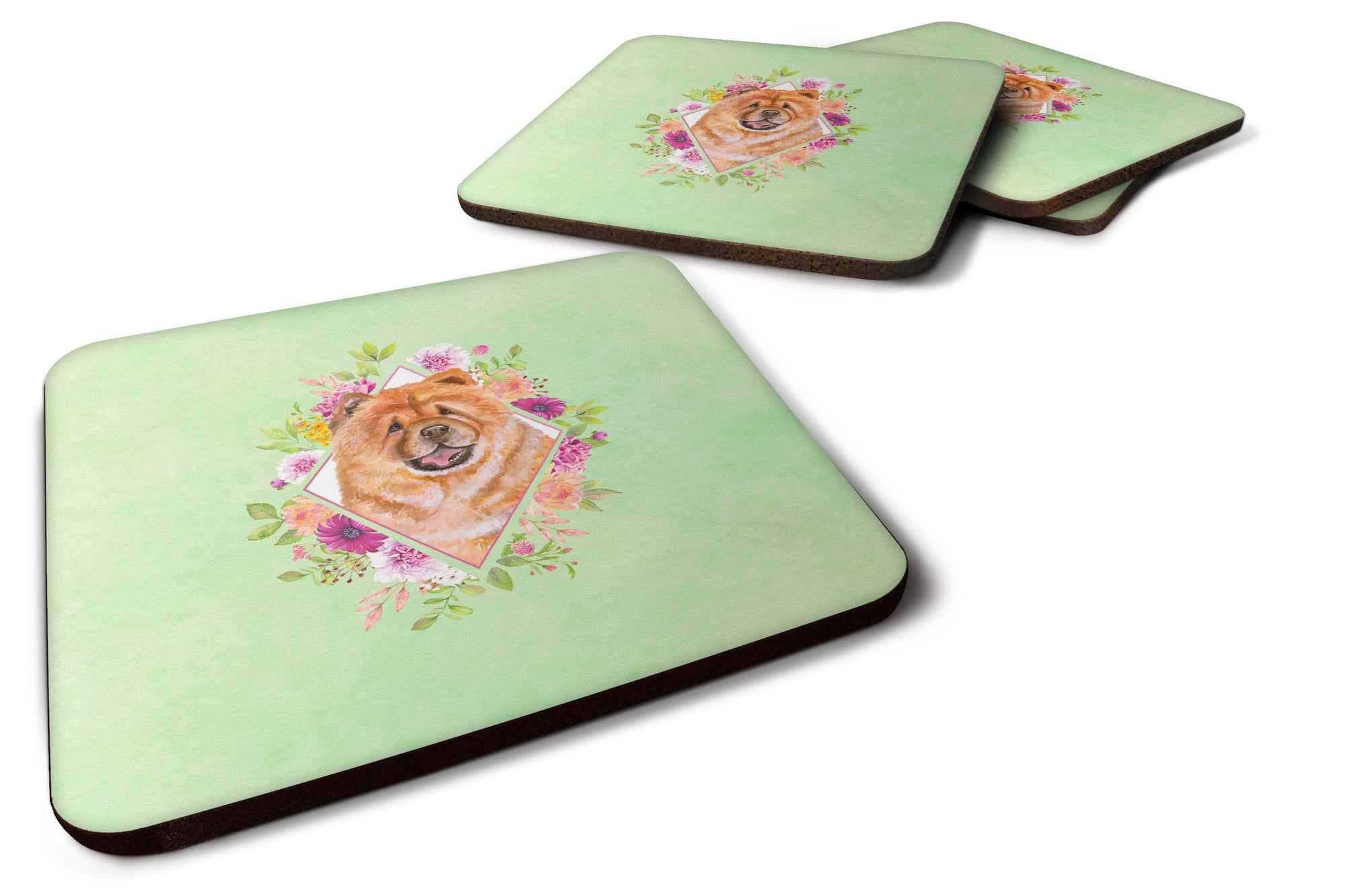 Set of 4 Chow Chow #1 Green Flowers Foam Coasters Set of 4 CK4291FC by Caroline's Treasures