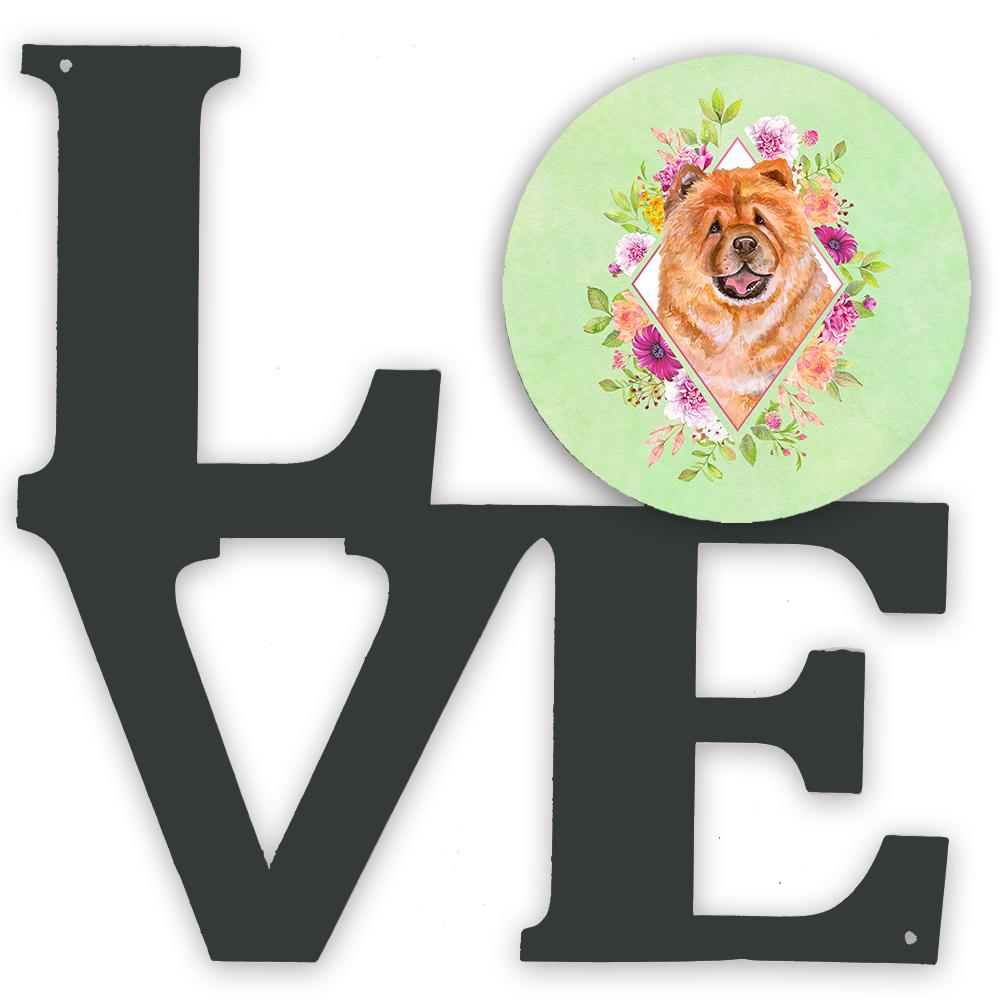 Chow Chow #1 Green Flowers Metal Wall Artwork LOVE CK4291WALV by Caroline's Treasures