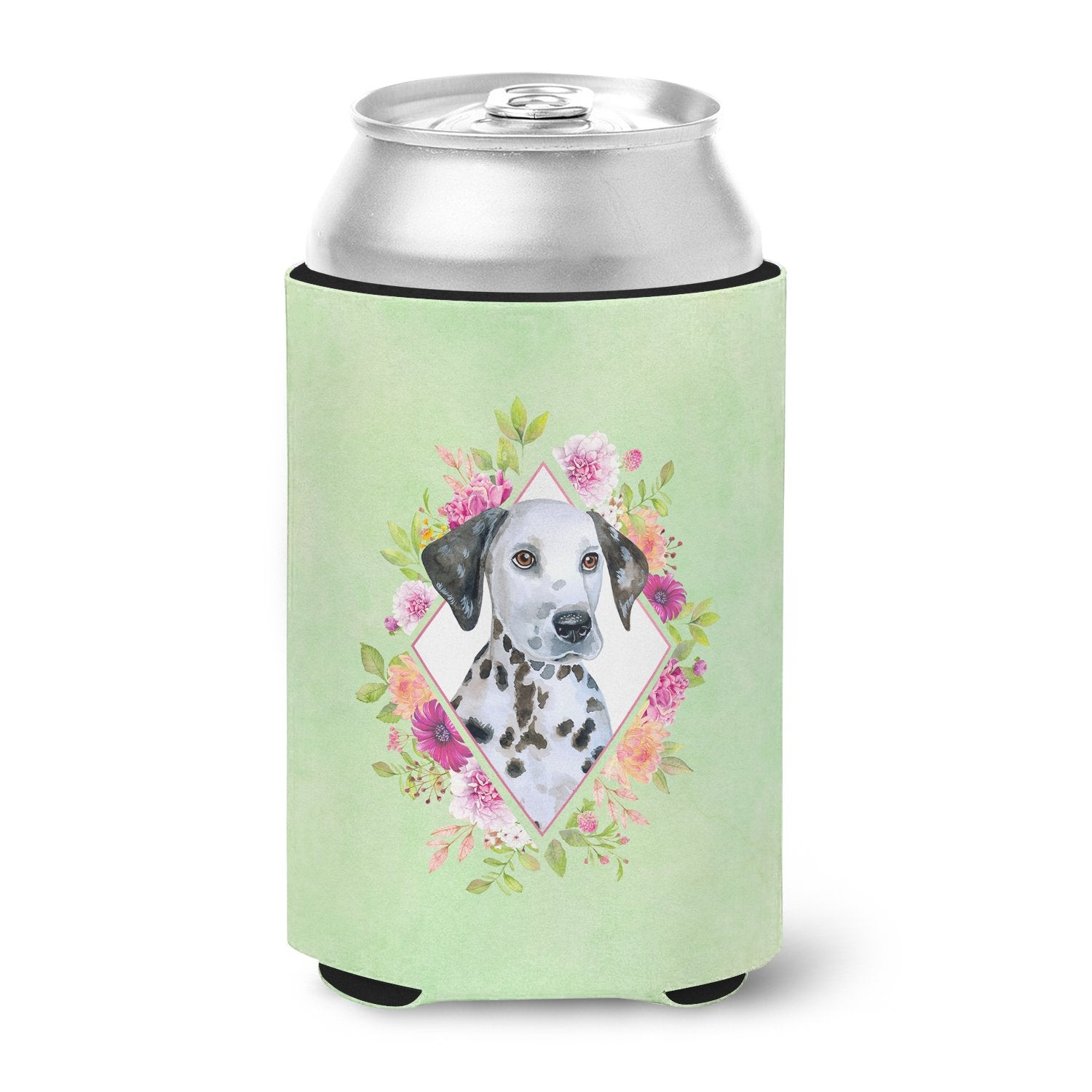 Dalmatian Puppy Green Flowers Can or Bottle Hugger CK4296CC by Caroline's Treasures