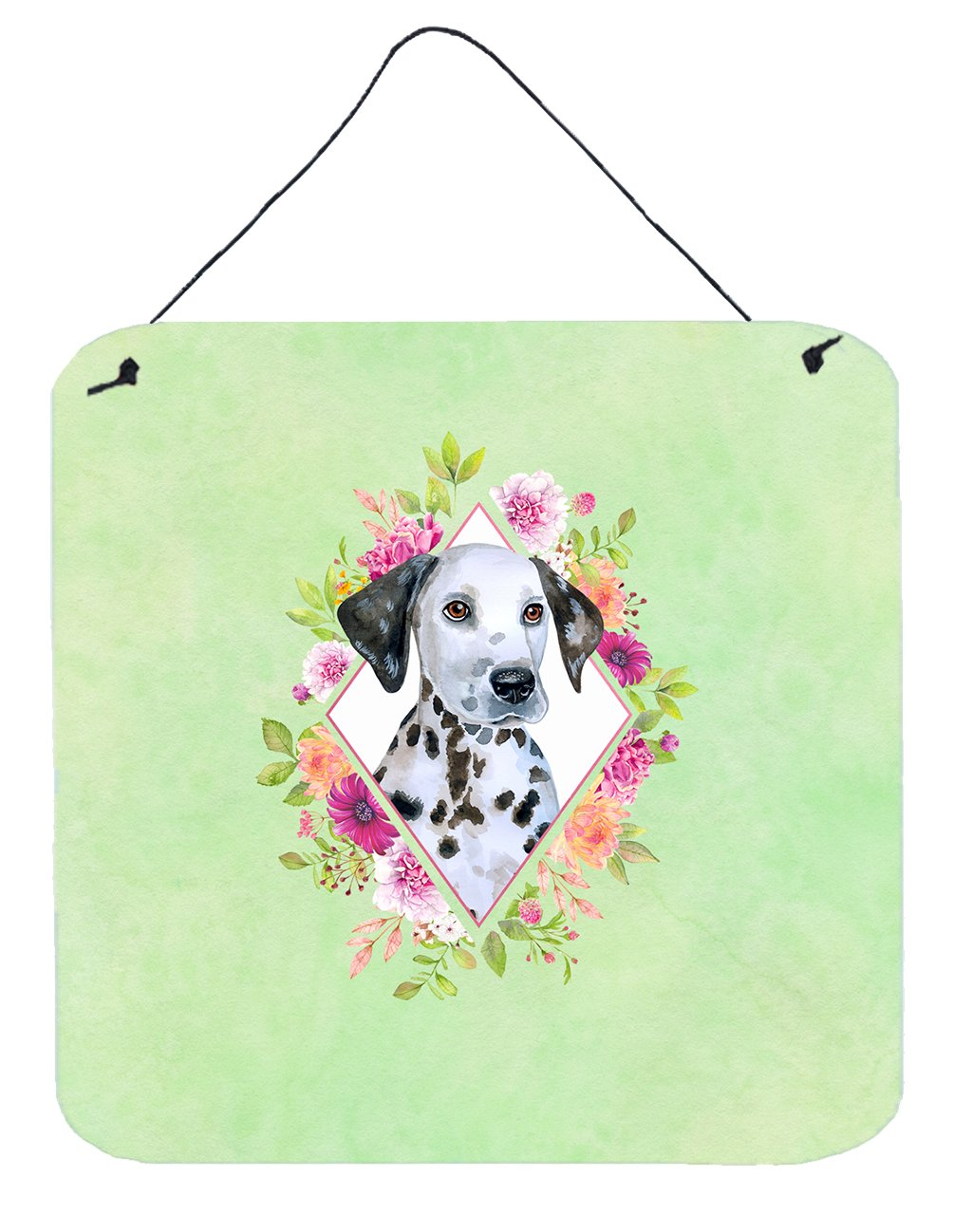 Dalmatian Puppy Green Flowers Wall or Door Hanging Prints CK4296DS66 by Caroline's Treasures