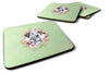 Set of 4 Dalmatian Puppy Green Flowers Foam Coasters Set of 4 CK4296FC by Caroline's Treasures