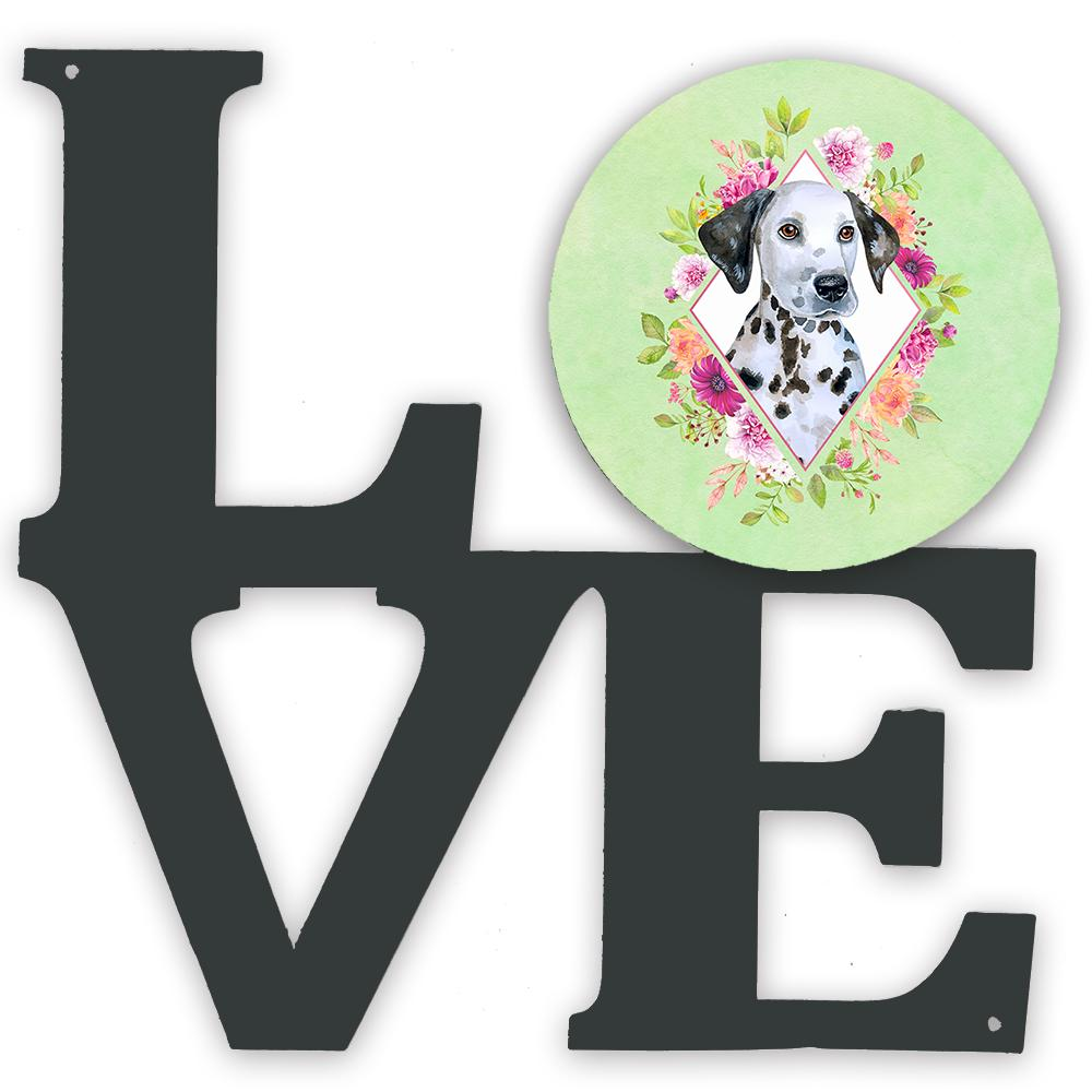 Dalmatian Puppy Green Flowers Metal Wall Artwork LOVE CK4296WALV by Caroline's Treasures
