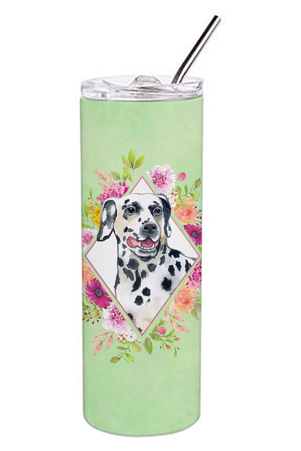 Dalmatian Green Flowers Double Walled Stainless Steel 20 oz Skinny Tumbler CK4297TBL20 by Caroline's Treasures