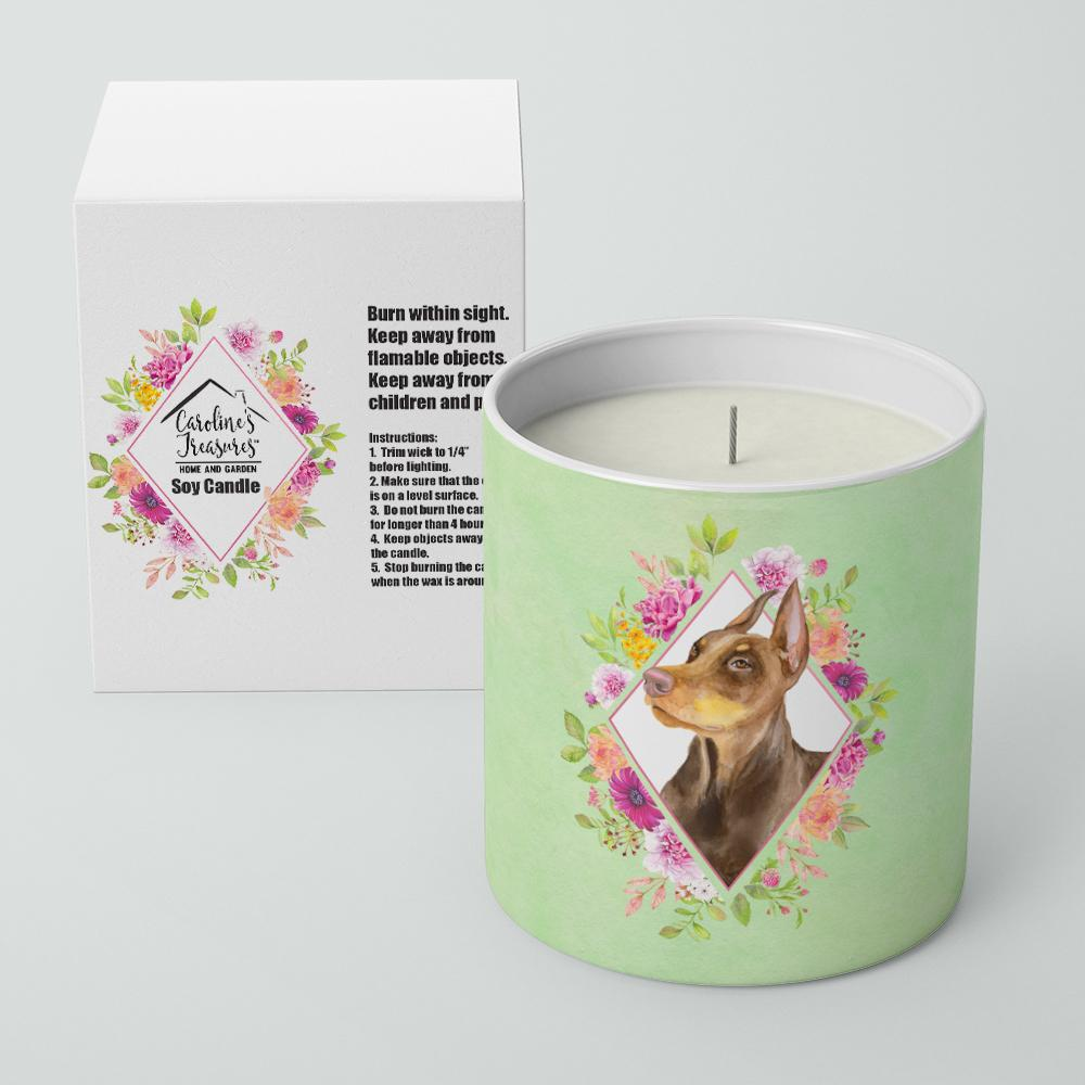 Doberman Pinscher Green Flowers 10 oz Decorative Soy Candle CK4298CDL by Caroline's Treasures
