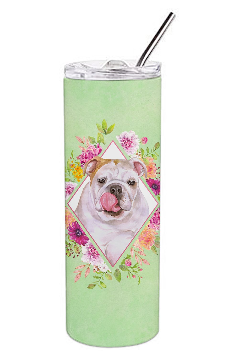 English Bulldog Green Flowers Double Walled Stainless Steel 20 oz Skinny Tumbler CK4300TBL20 by Caroline's Treasures