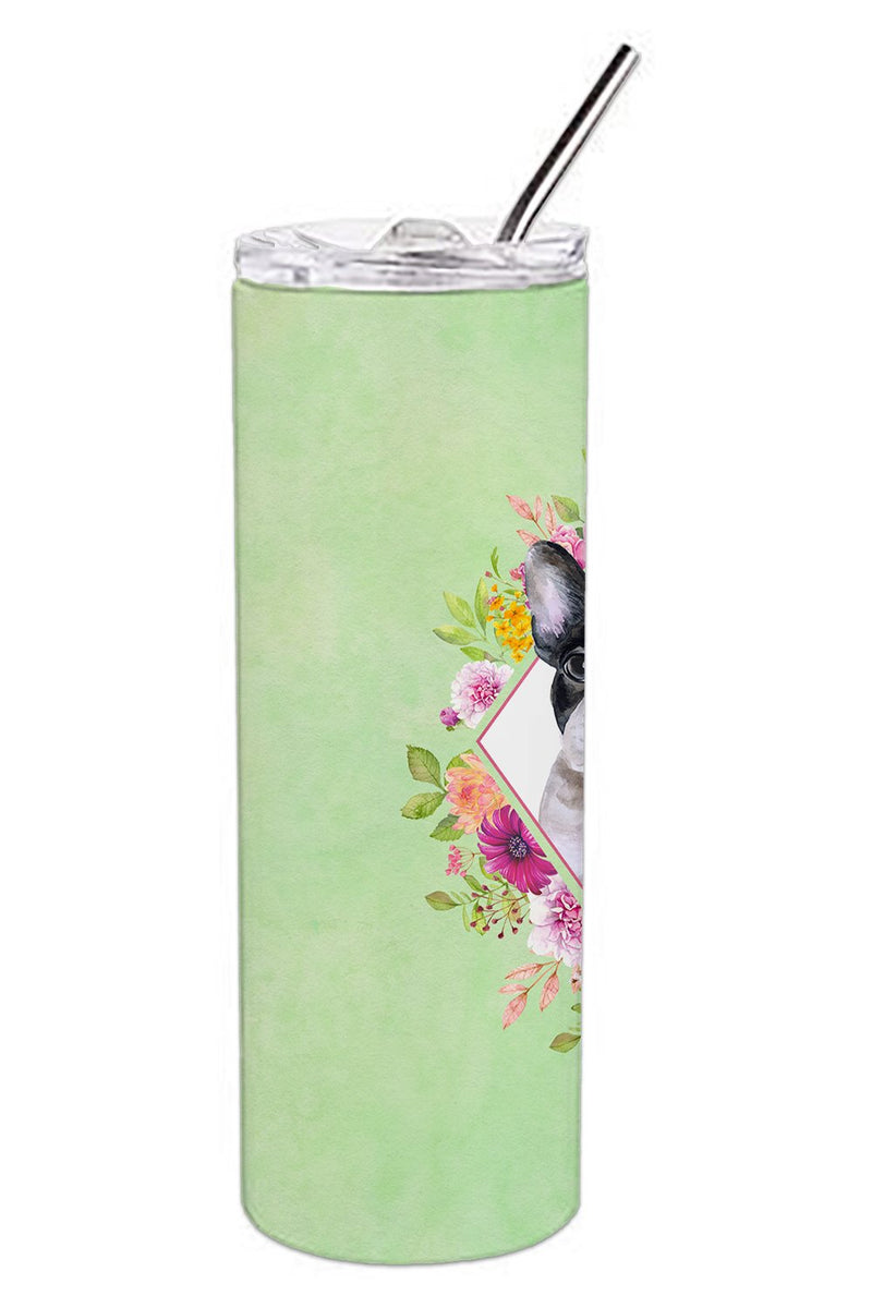 Buy this French Bulldog Green Flowers Double Walled Stainless Steel 20 oz Skinny Tumbler CK4303TBL20