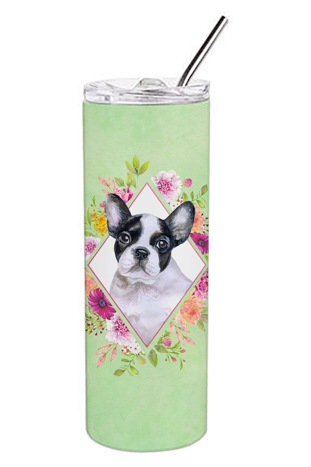 French Bulldog Green Flowers Double Walled Stainless Steel 20 oz Skinny Tumbler CK4303TBL20 by Caroline's Treasures