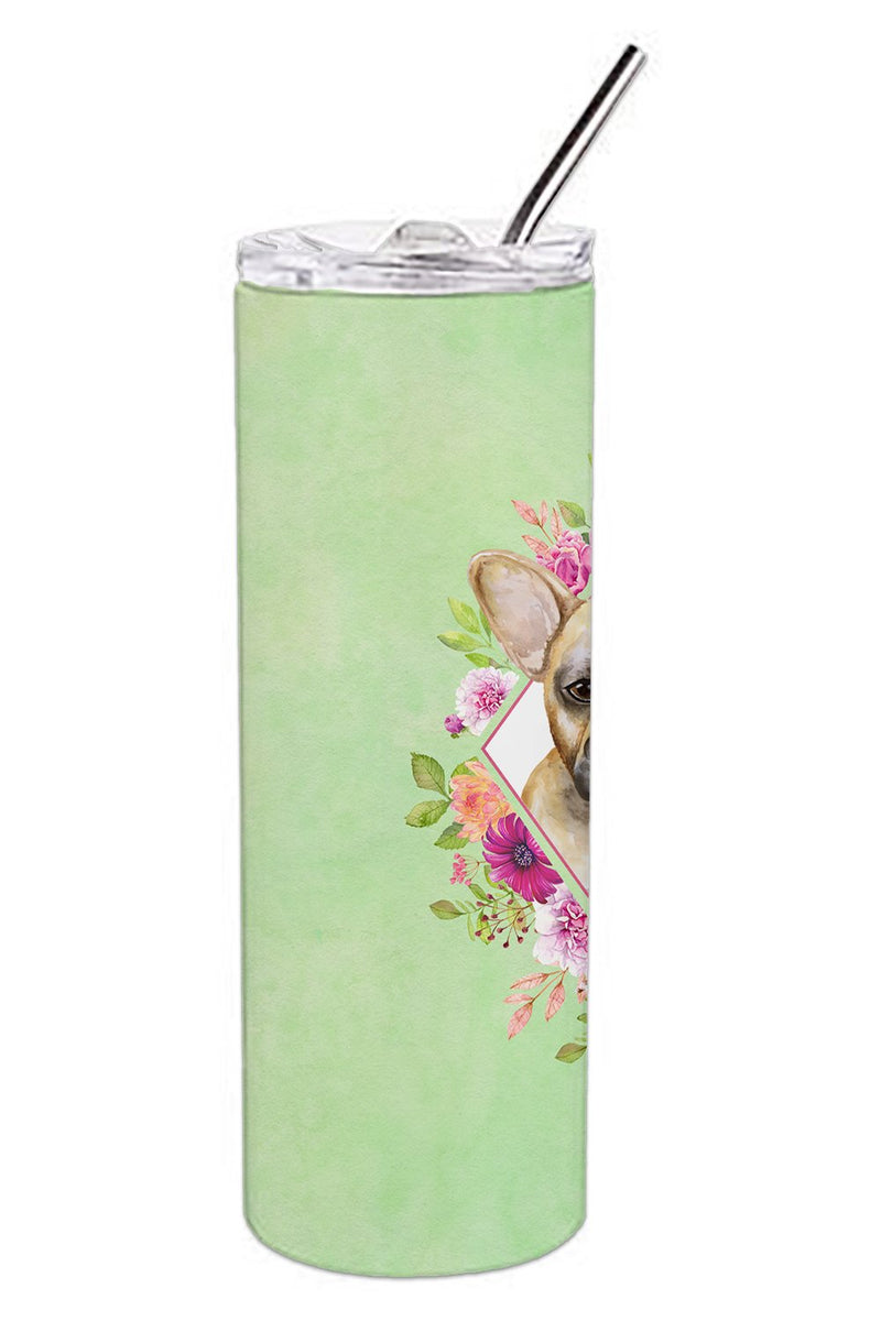 Buy this Fawn French Bulldog Green Flowers Double Walled Stainless Steel 20 oz Skinny Tumbler CK4304TBL20