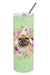 Fawn French Bulldog Green Flowers Double Walled Stainless Steel 20 oz Skinny Tumbler CK4304TBL20 by Caroline's Treasures