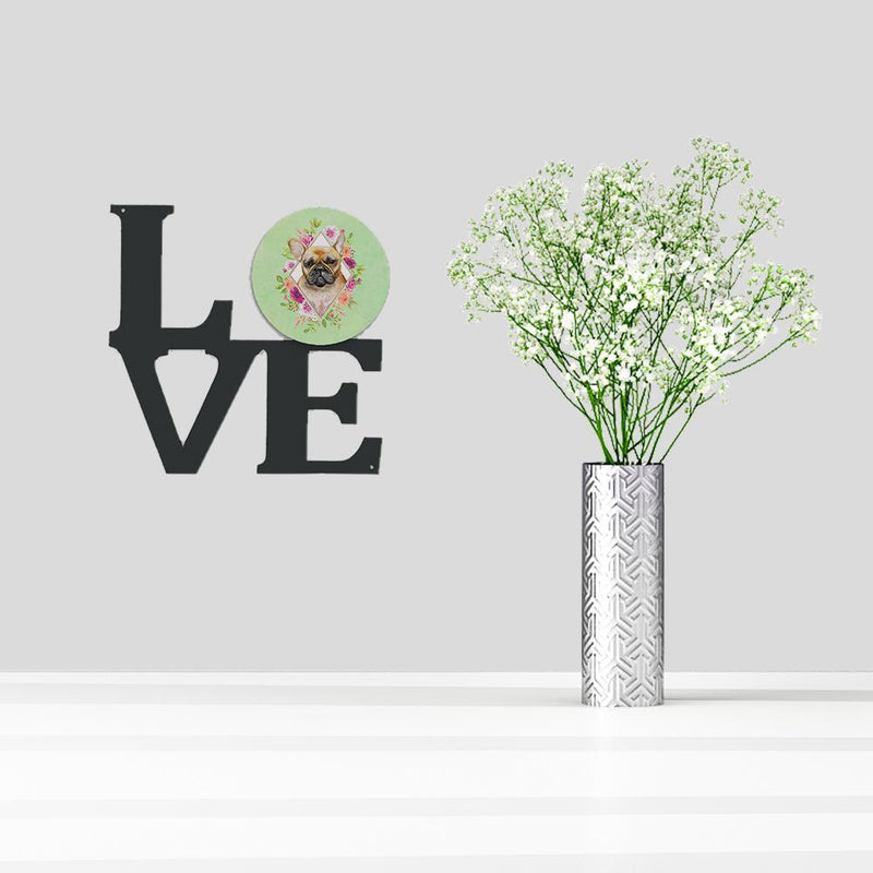 Buy this Fawn French Bulldog Green Flowers Metal Wall Artwork LOVE CK4304WALV