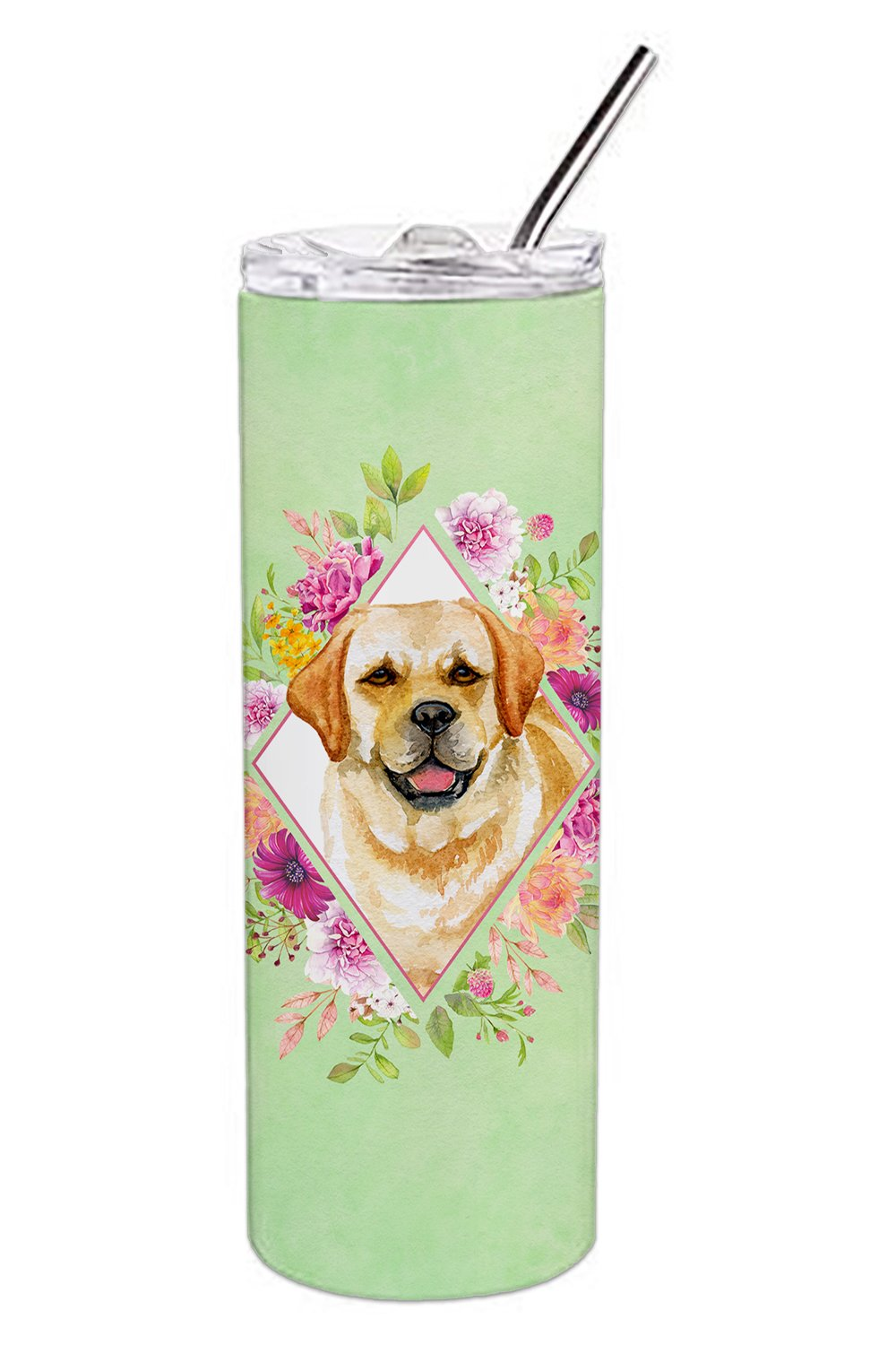 Golden Retriever Green Flowers Double Walled Stainless Steel 20 oz Skinny Tumbler CK4309TBL20 by Caroline's Treasures