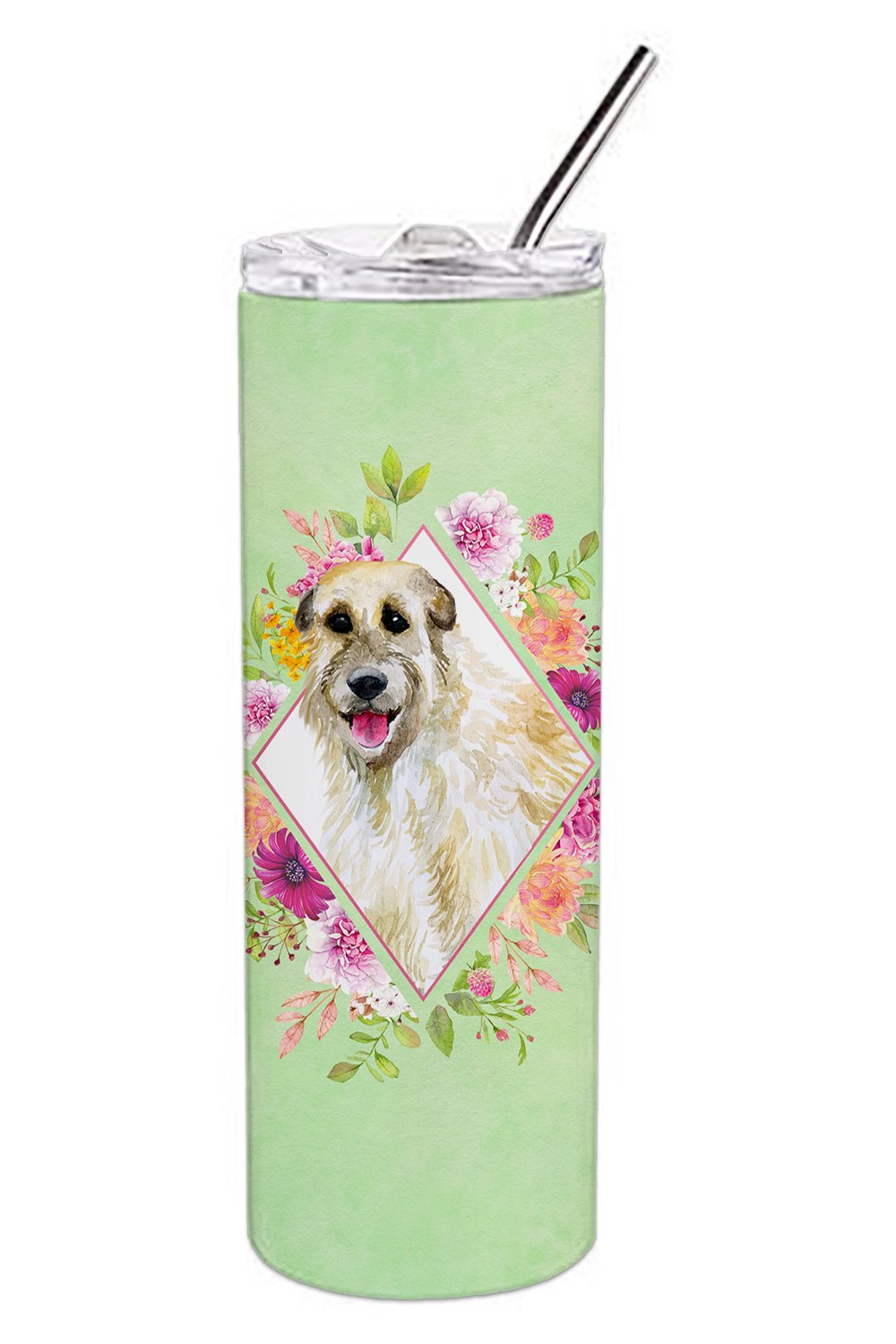 Buy this Irish Wolfhound Green Flowers Double Walled Stainless Steel 20 oz Skinny Tumbler CK4313TBL20