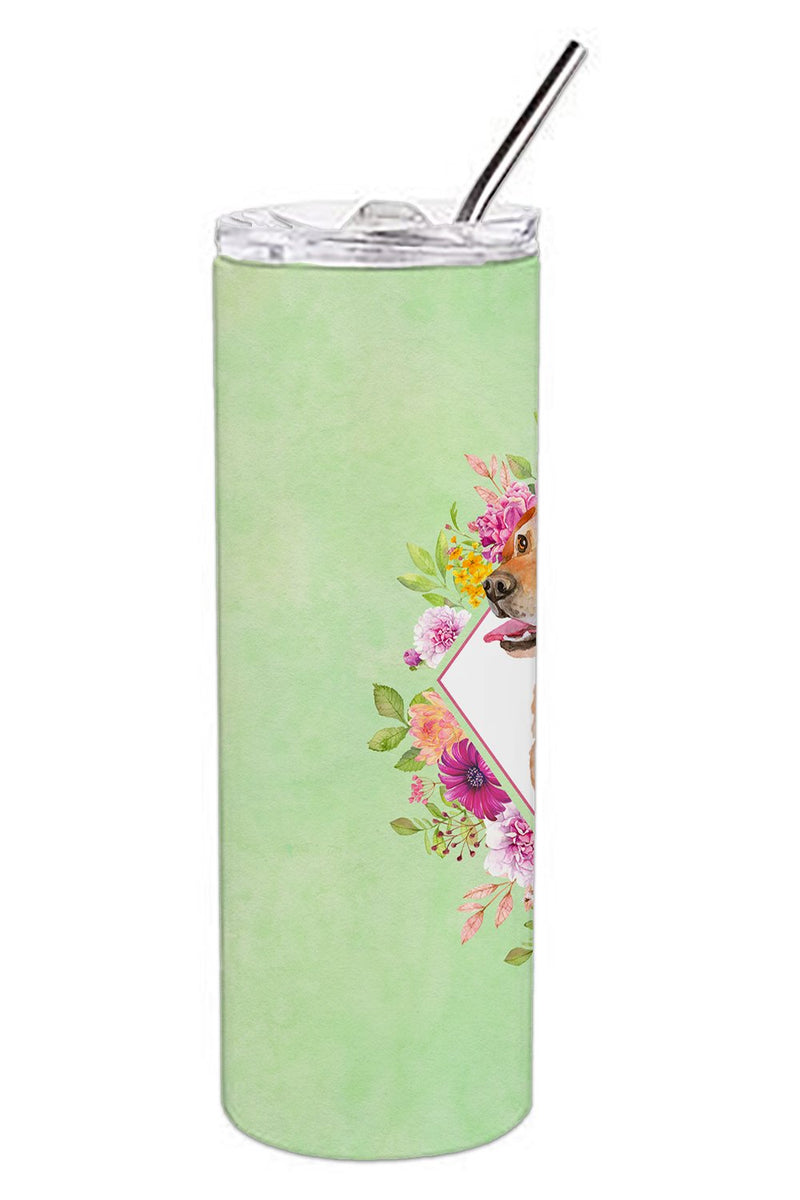 Buy this Yellow Labrador Retriever Green Flowers Double Walled Stainless Steel 20 oz Skinny Tumbler CK4318TBL20