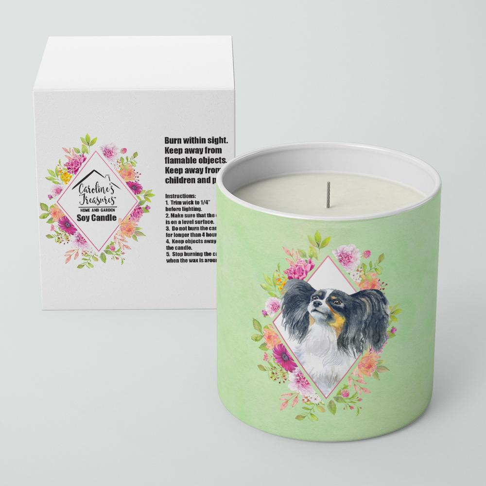Papillon Green Flowers 10 oz Decorative Soy Candle CK4325CDL by Caroline's Treasures
