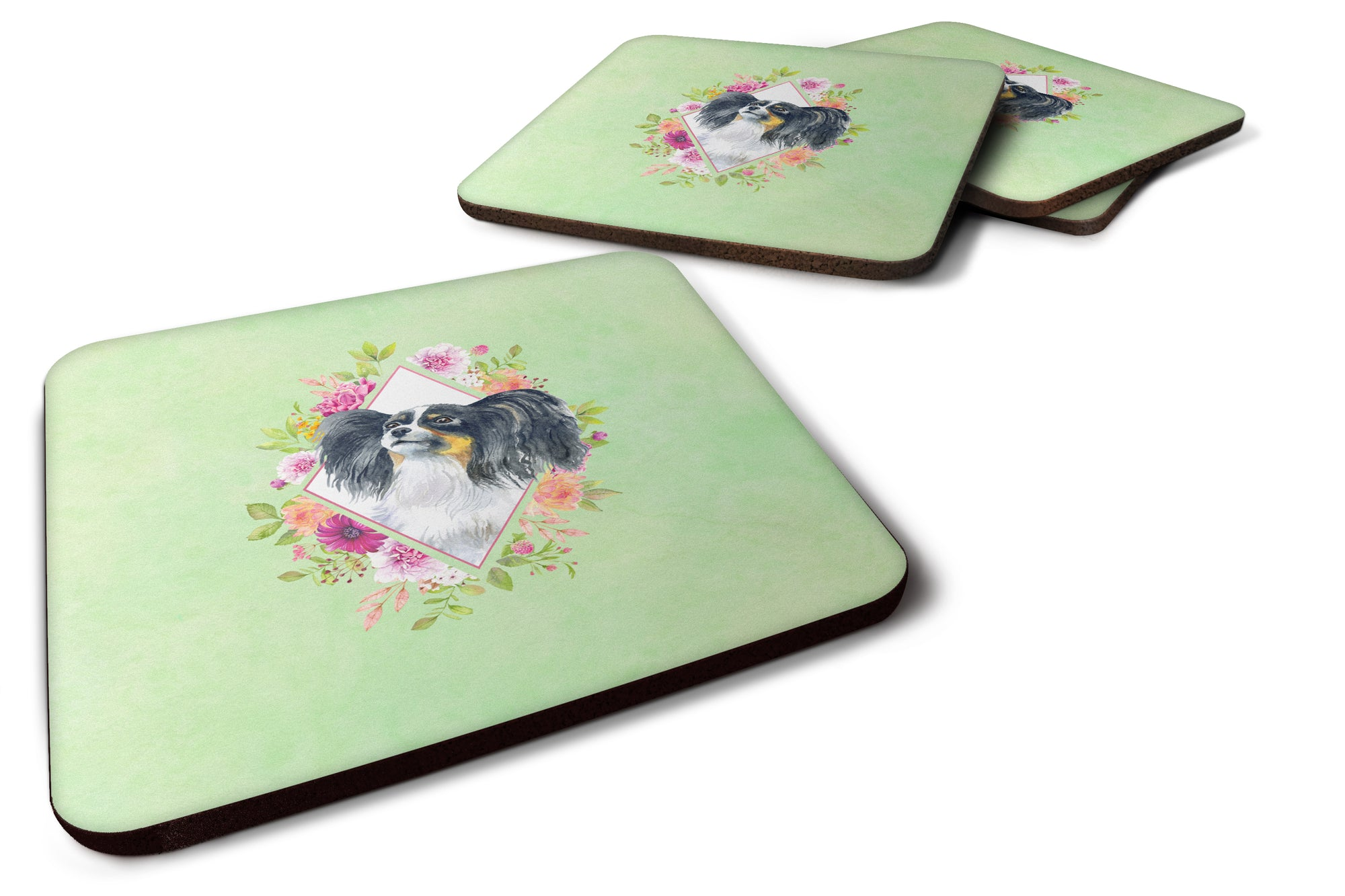 Set of 4 Papillon Green Flowers Foam Coasters Set of 4 CK4325FC by Caroline's Treasures