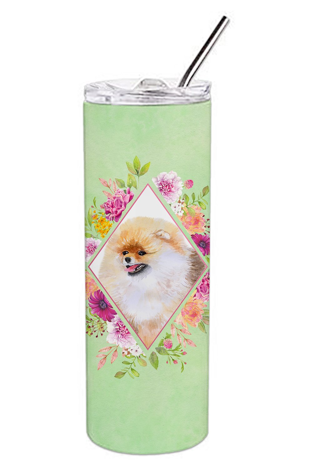 Pomeranian #2 Green Flowers Double Walled Stainless Steel 20 oz Skinny Tumbler CK4330TBL20 by Caroline's Treasures