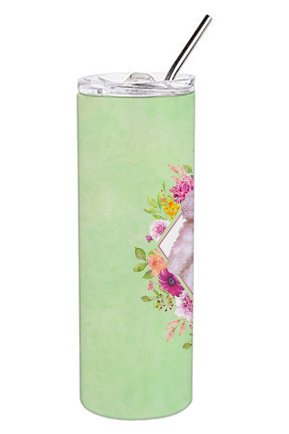 Standard White Poodle Green Flowers Double Walled Stainless Steel 20 oz Skinny Tumbler CK4331TBL20 by Caroline's Treasures