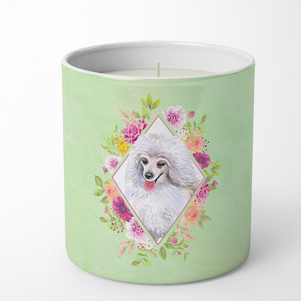Buy this White Mini Poodle Green Flowers 10 oz Decorative Soy Candle CK4332CDL