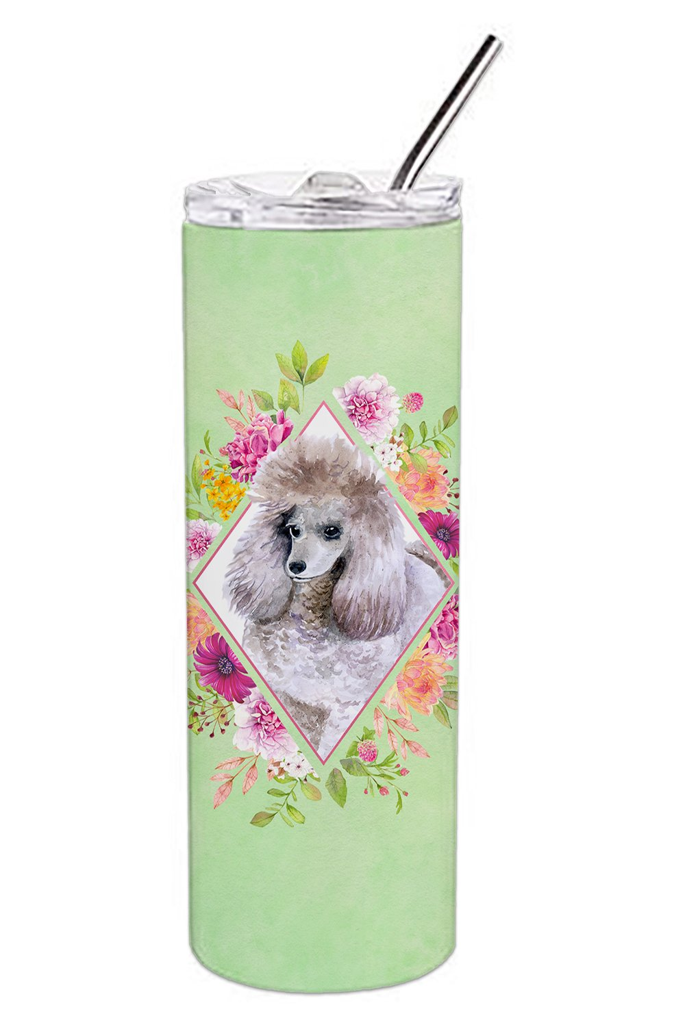 Standard Grey Poodle Green Flowers Double Walled Stainless Steel 20 oz Skinny Tumbler CK4333TBL20 by Caroline's Treasures