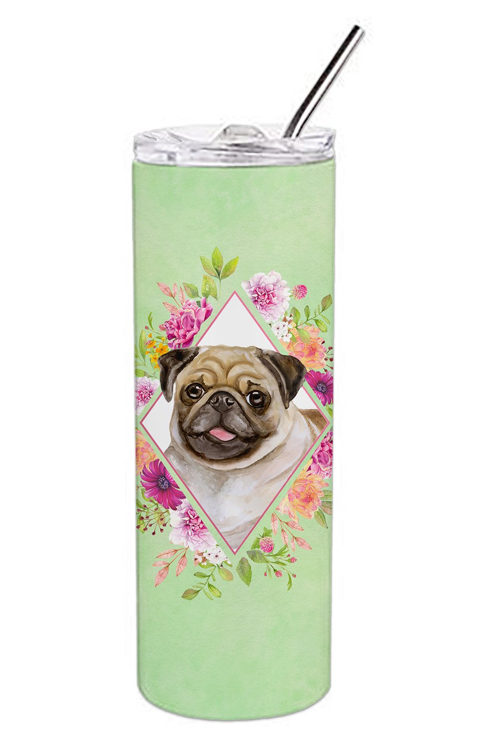 Buy this Fawn Pug Green Flowers Double Walled Stainless Steel 20 oz Skinny Tumbler CK4334TBL20