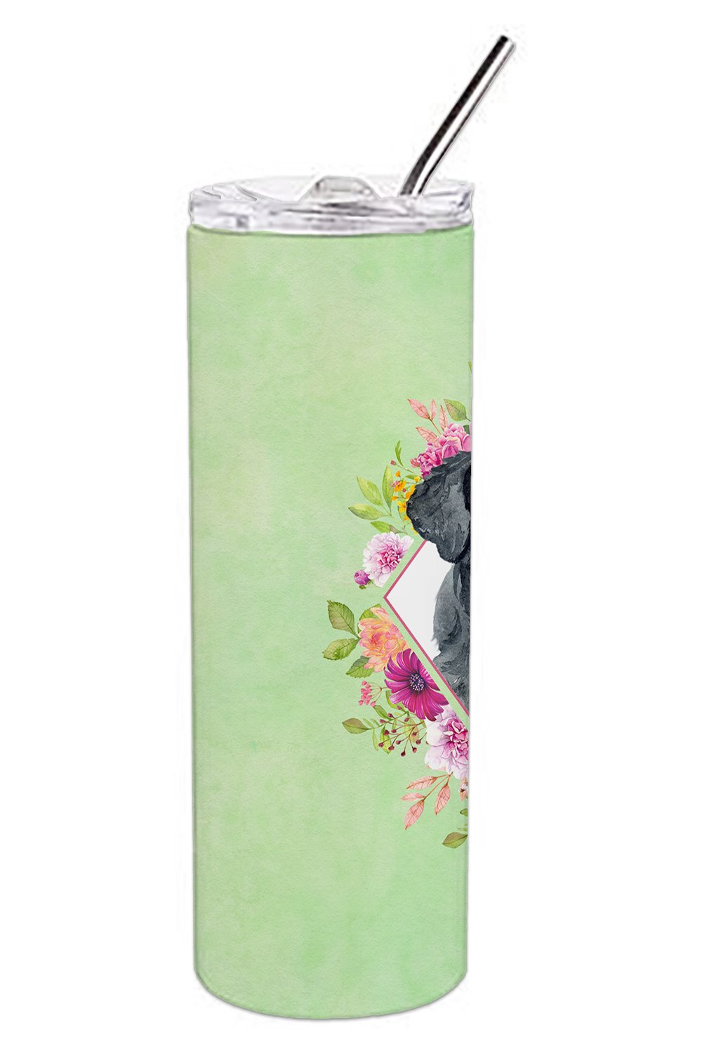 Giant Schnauzer Green Flowers Double Walled Stainless Steel 20 oz Skinny Tumbler CK4338TBL20 by Caroline's Treasures