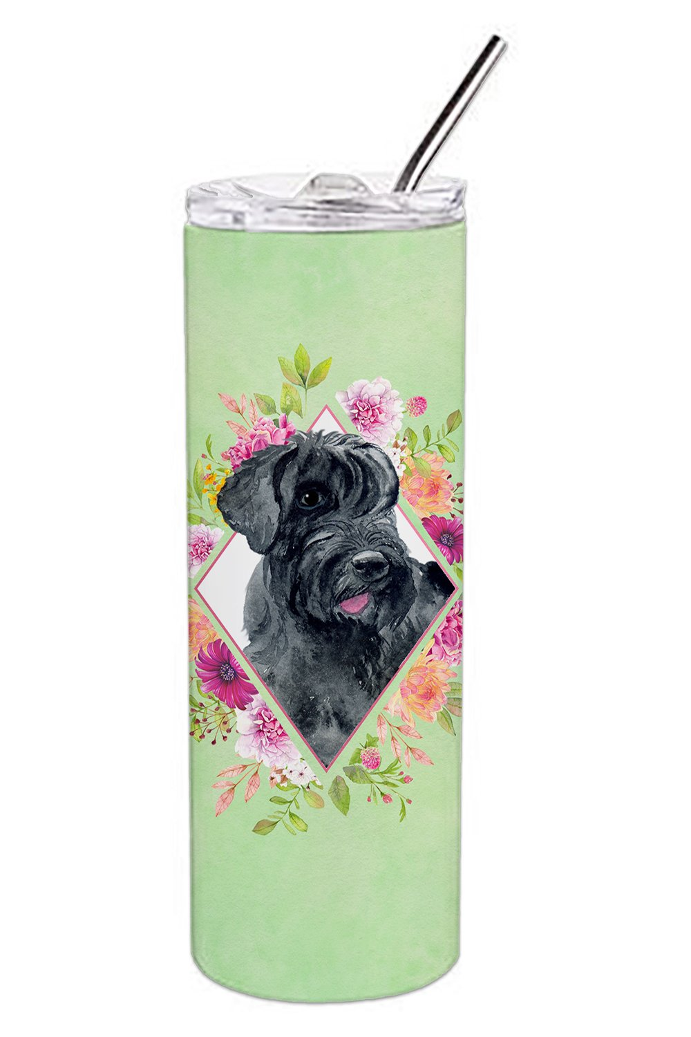 Buy this Giant Schnauzer Green Flowers Double Walled Stainless Steel 20 oz Skinny Tumbler CK4338TBL20